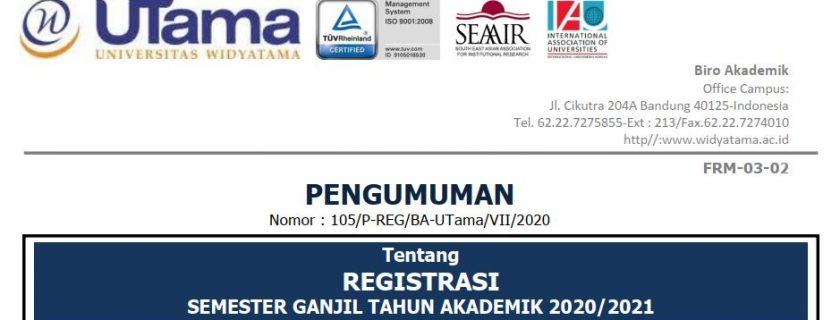 Jadwal Registrasi Semester Ganjil Tahun Akademik 2020/2021